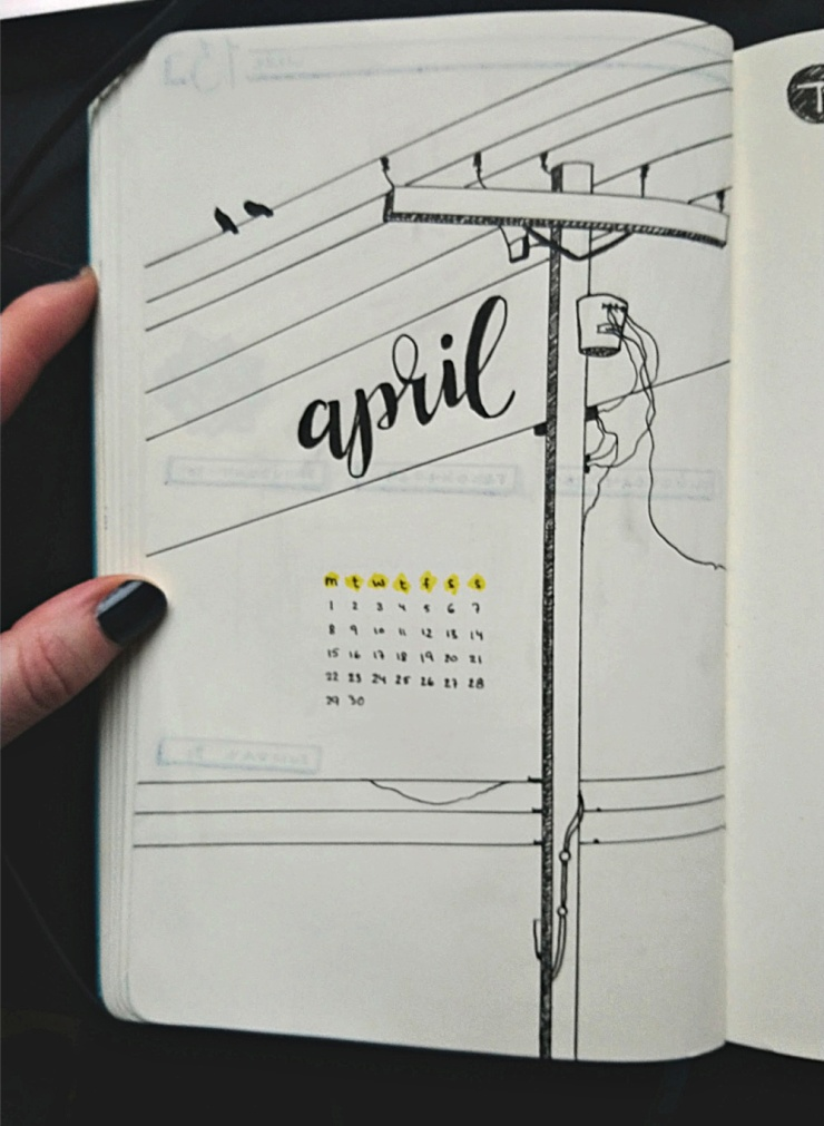 Bullet journal April monthly view template