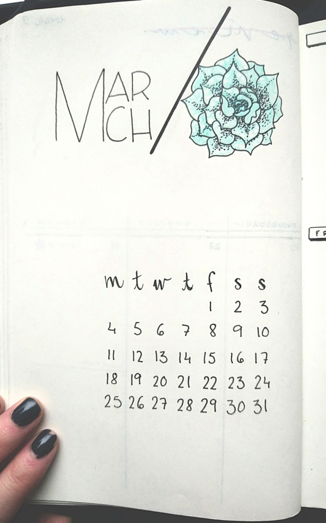 Monthly March bullet journal template