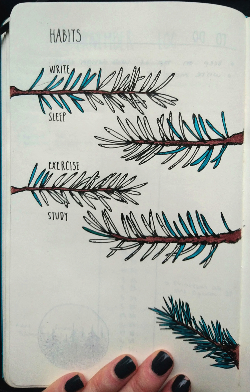 Bullet journal, habit tracker pine tree design template